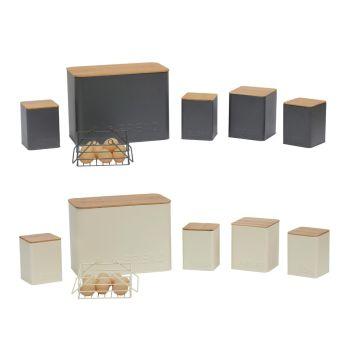 6 Piece Rectangular Kitchen Storage Set Embossed Lettering Design
