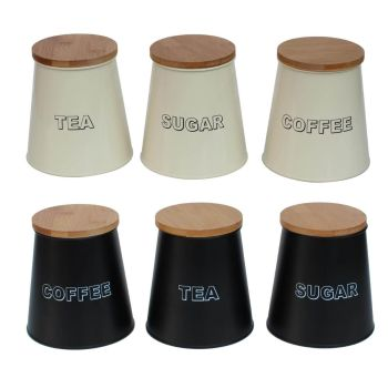 Conical Shaped Metal Kitchen Storage Canisters with Bamboo Lids