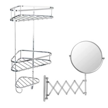 Shower Storage Organiser And Wall Mounted Extendable Mirror Duo