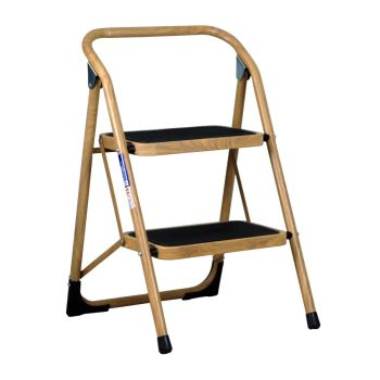 2 Step Ladder Extra Wide Step Safety Non Slip Mat Heavy Duty Steel Folding - Wood Effect