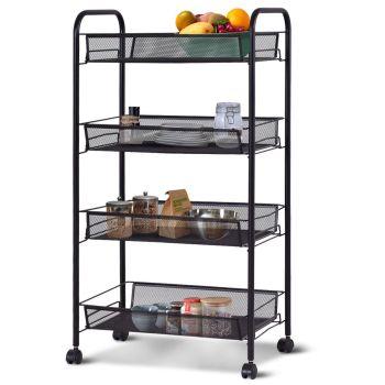 4 Tier Basket Storage Trolley Black