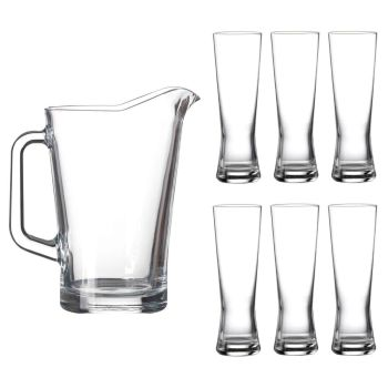 Lucente 7 Piece Durable Everyday Clear Drinking Glass & Pitcher Jug Set