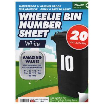 20 X Self Adhesive Water Proof Wheelie Bin Numbers Stickers