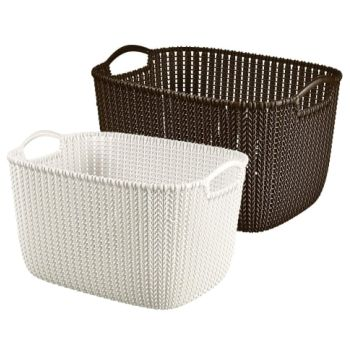 Curver Knit Storage Basket Featuring Detailed Woven Knit Design And Integrated Handles