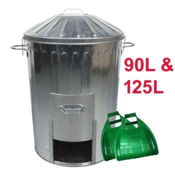 Galvanised Metal Dustbin With Door Hatch & Locking Lid + Large Plastic Leaf Grabber Set