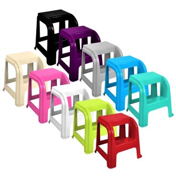 Strong Plastic Multi Purpose Step Stool - Choice Of Colours