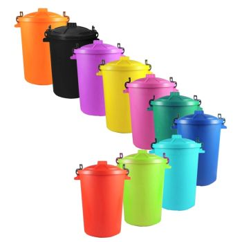 Plastic Bin With Locking Lid - Choice Of Colours