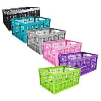 32 Litre Plastic Folding Storage Crate - Choice Of Colours