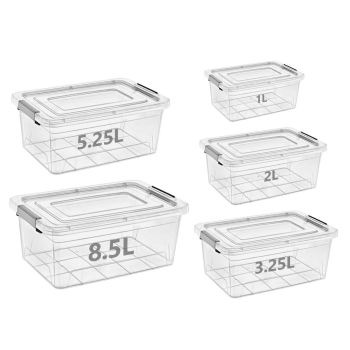 Mixed Sizes Stackable Clear Plastic Clip Lock Storage Boxes - Set Of 5