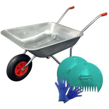 Garden Wheelbarrow - Includes Plastic Leaf Scoop Set And Pair Of Seed & Weed Gardening Gloves