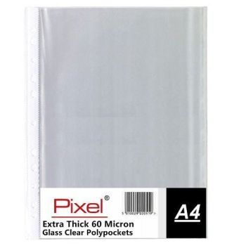Pixel A4 60 Micron Glass Clear Transparent Strong Punched Polypockets - Multi Buy Packs