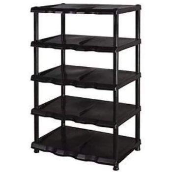 Black Plastic Shelving Storage Shoe Rack Unit Organiser -5 Tier