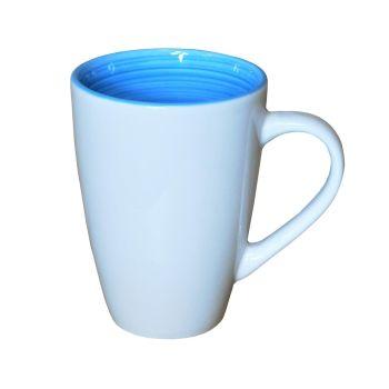 White Ceramic Blue Inner Latte Mugs 325ml