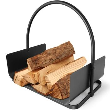 Kingsman Log & Firewood Cradle - Black Power Coated Steel Fireside Furniture