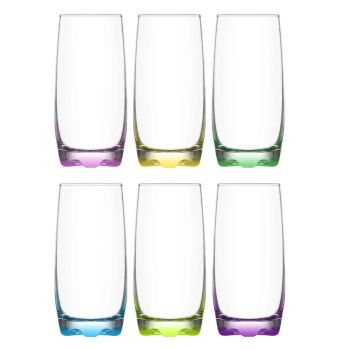Lucenté Highball Tumbler Drinking Glasses With Coloured Base