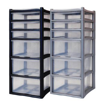 Extra Large 6 Drawer Home & Office Plastic Tower Storage Unit