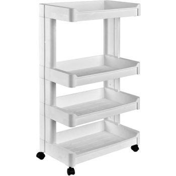 Multi Purpose 4-Tier Kitchen, Bathroom & Household Layered Storage Rack With Wheels