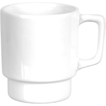 Plain White Stacking Mugs With Square Handle 270ml