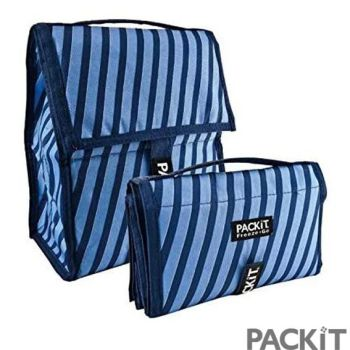 Pack It Folding Blue Striped Personal Cooler Lunch Bag