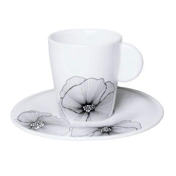 Monochrome Patterned Porcelain Coffee Set 150ml