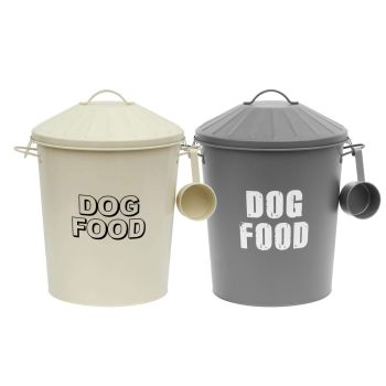 Metal Vintage Retro Styled Dry Dog Food Storage Bin Container With Scoop