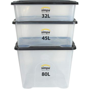3 Piece Mixed Sizes Stackable Plastic Storage Boxes