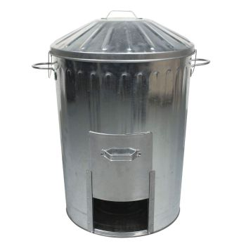Galvanised Metal Dustbin With Door Hatch And Locking Lid