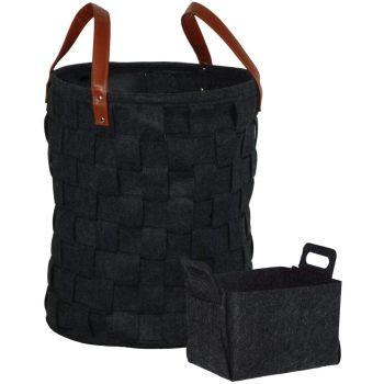 2PC Soft Felt Basket Storage Bin with PU Leather Handle