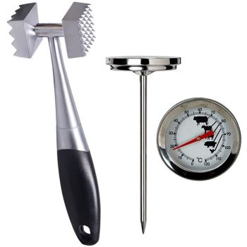Stainless Steel Meat Tenderiser Mallet Hammer & Meat Thermometer
