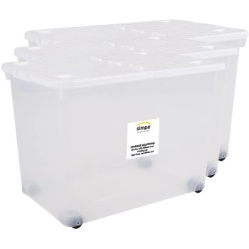 Simpa 80 Litre Clear Plastic Storage Box With White Hinged Lid And Wheels - Set Of 3