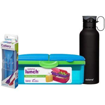 Slimline Quaddie Lunchbox, Cutlery Set & 600ml Stainless Steel Insulated Drinks Bottle