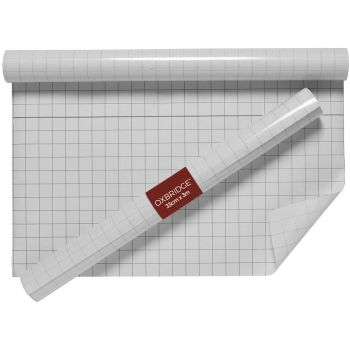 Oxbridge Back to School Self Adhesive Clear Film Roll with Cut to Size Grid Guide Backing