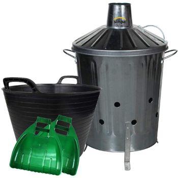 Galvanised Incinerator Bin Flexi Tub and Plastic Leaf Grabber Set