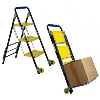 Two In One Step Ladder With Folding Trolley