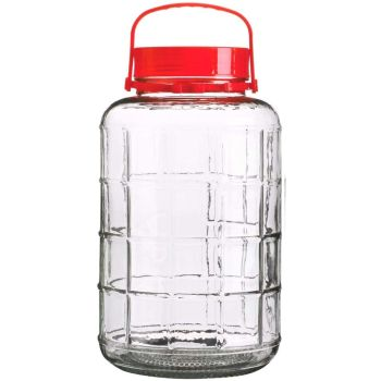 Chunky Glass Airtight Storage Jar with Screw Lid Closure & Handle