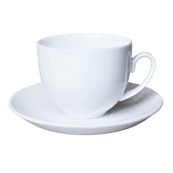 White Ceramic Classic Cup & Saucer