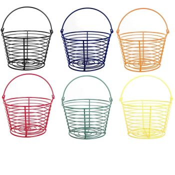 Country Farm Stye Strong Colour Metal Wire Egg Holder Stand Basket with Handle