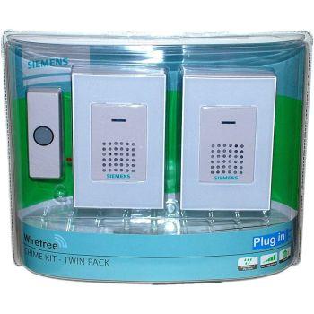 Siemens Wireless Twin Doorbell Door Kit With Light Up Push Button