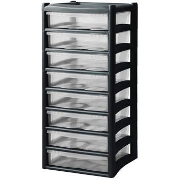 Extra Large 8 Drawer Home & Office Plastic Tower Storage Units