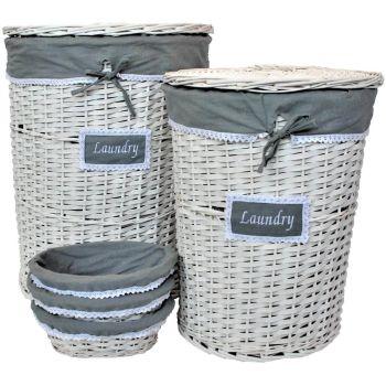 Woven Wicker Laundry Basket and Bread Basket Set