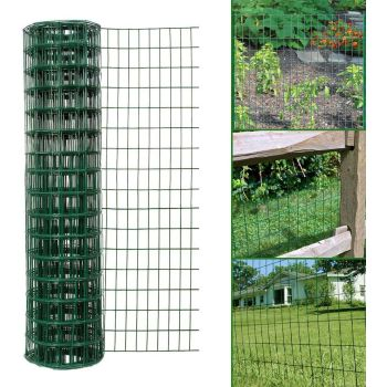 Simpa Multipurpose 1M x 10M - Green PVC Coated Galvanised Steel Wire Garden Fencing Roll