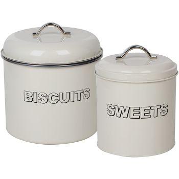 Vintage Biscuit & Sweets Cannister Set Classic Retro Metal Kitchen Storage Set