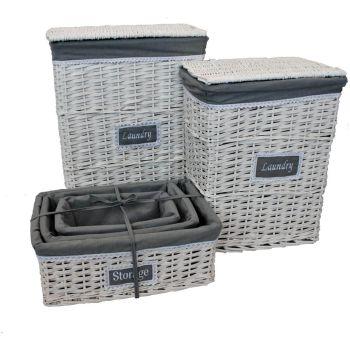 simpaoutdoor 5 Piece White & Grey Woven Wicker Laundry Basket & Storage Hamper Set