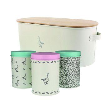 Mary Berry Bread Bin & 3 Piece Storage Tin Set