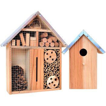 simpaoutdoor Bug Hotel & Bird Box Combo