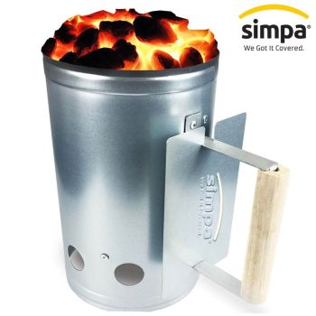 Charcoal Fire Starter Chimney Kit With Wooden Handle
