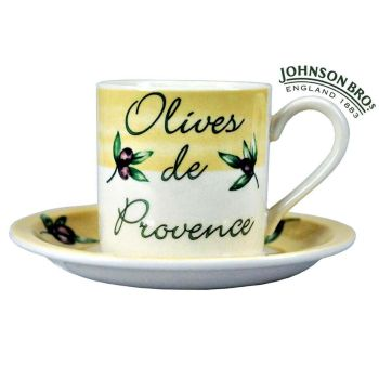 Olives De Provence Porcelain Coffee Cup & Saucer Set Johnson Bros Ware