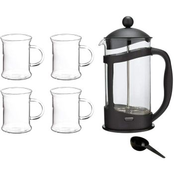 1 Litre Black Plastic Cafetiere French Press 8 Cup Coffee Pot & Glass Coffee Cups