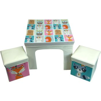 Children's Table And 2 Storage Bin Style Chairs Furniture Set