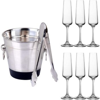 Bohemia Crystal Glass Champagne Flutes & Stainless Steel Ice Bucket